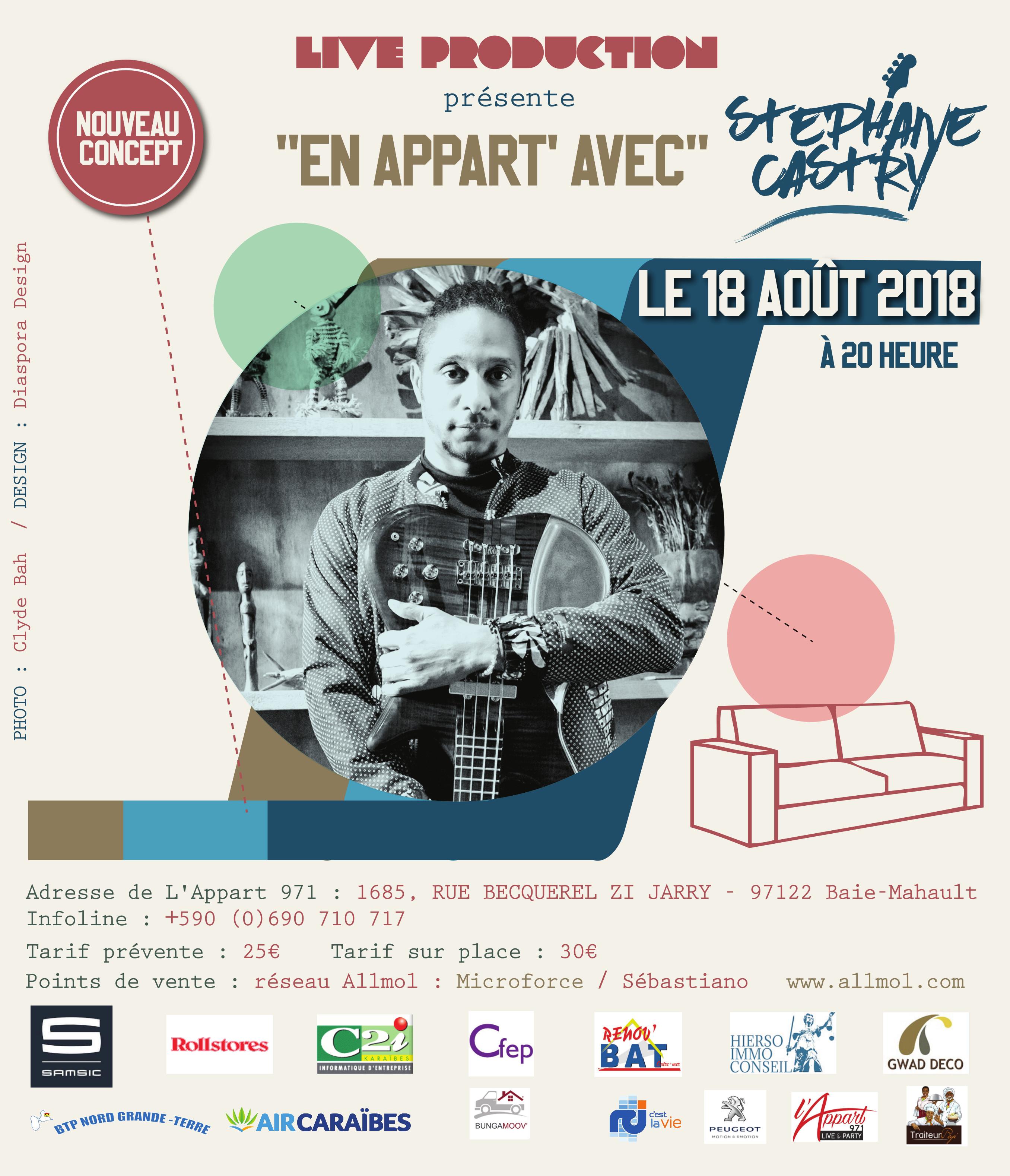 """Visuel concert """"En appart avec Stéphane Castry"""" - L'Appart 971 - 18/08/2018"""